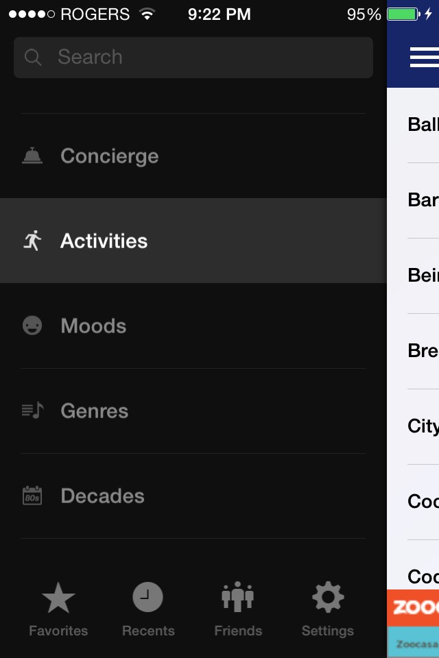 You can choose to select a play list based on your current mood, activity, favourite genre or decade