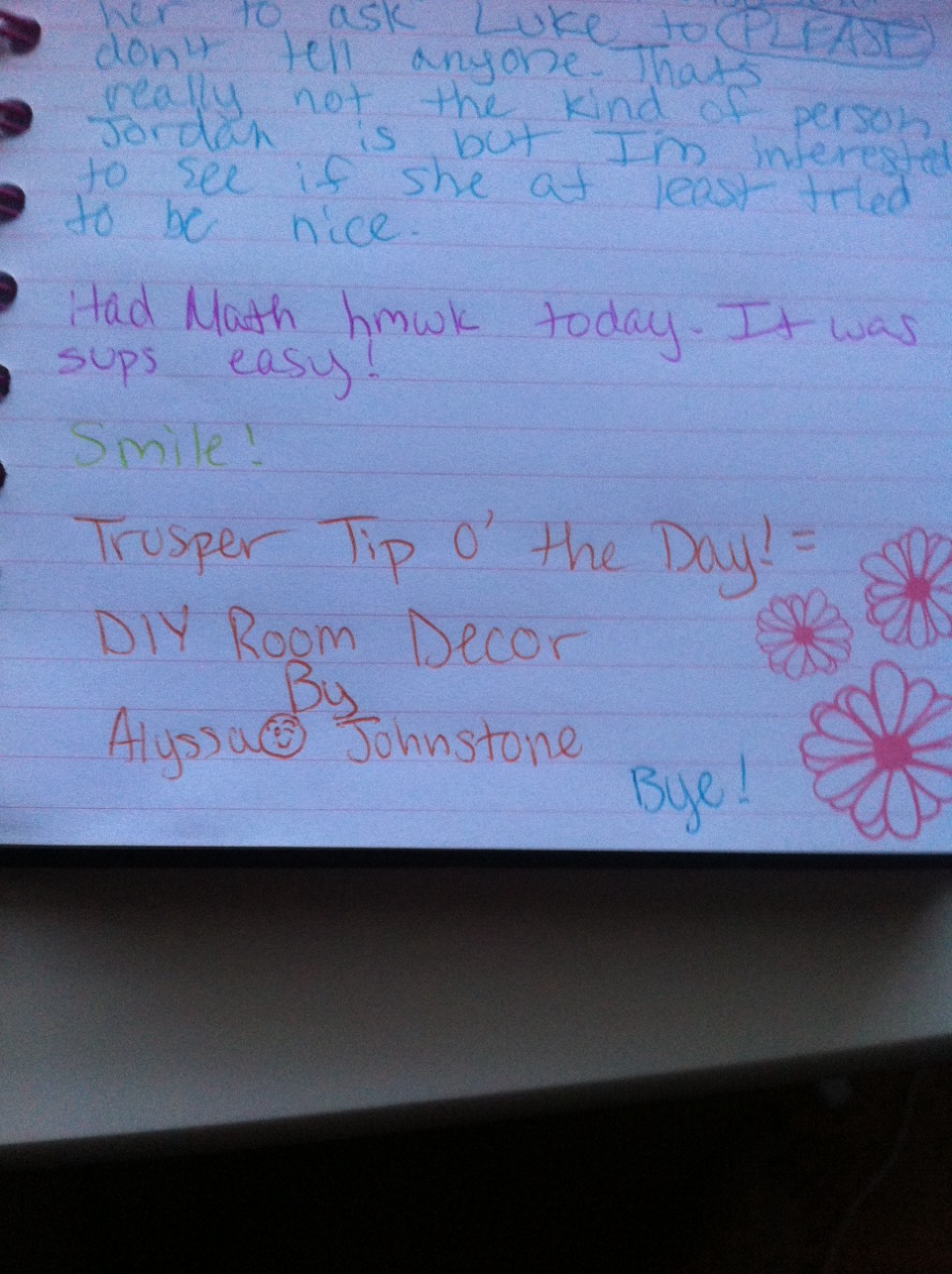 Of the day!!! I'm doing this EVERY SINGLE DAY so follow me if you want your name and tip in MY diary!!!