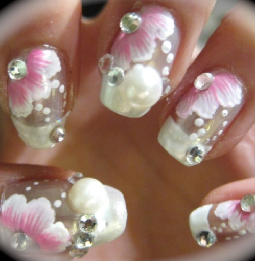 Beautiful flower nail art!  I will post a tutorial of me doing it if enough people like this.  It's actually not all that hard!