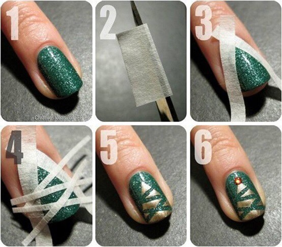 tape is used to create these gorgeous christmas tree nails dont forget to