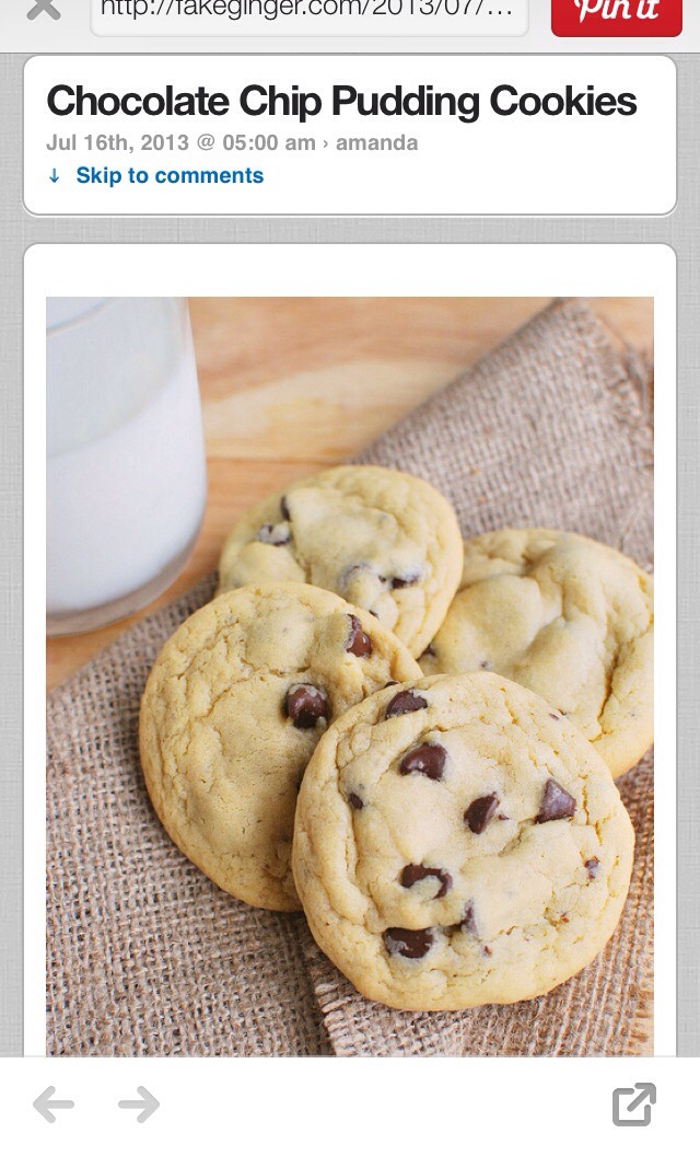 Chocolate chip pudding cookies...