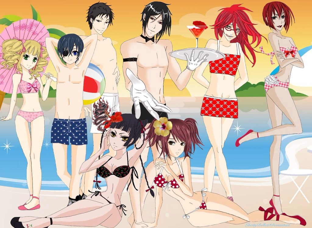 Kuroshitsuji (left to right on top: Lizzy, Ciel, Lau, Sebastian, Madame Red, Grell; left to right bottom: Ran-Mao, Mey-Rin)