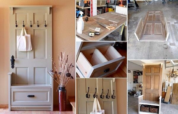 Turn And Old Door Into An Entrance Hall Storage Unit Bag Rack
