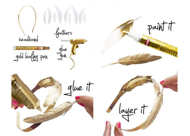 Be a queen for a day (or night) with a gold feathered headband