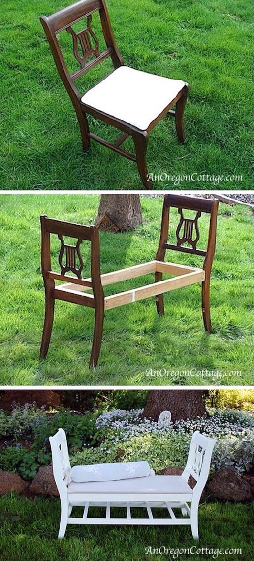 Instead of tossing those old or broken dining room chairs, turn them into a cozy indoor or outdoor bench.