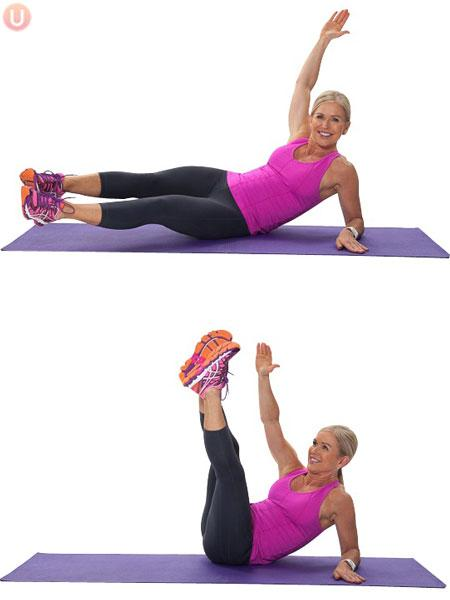 Oblique Crunch with Long Legs Perform 12 per side.