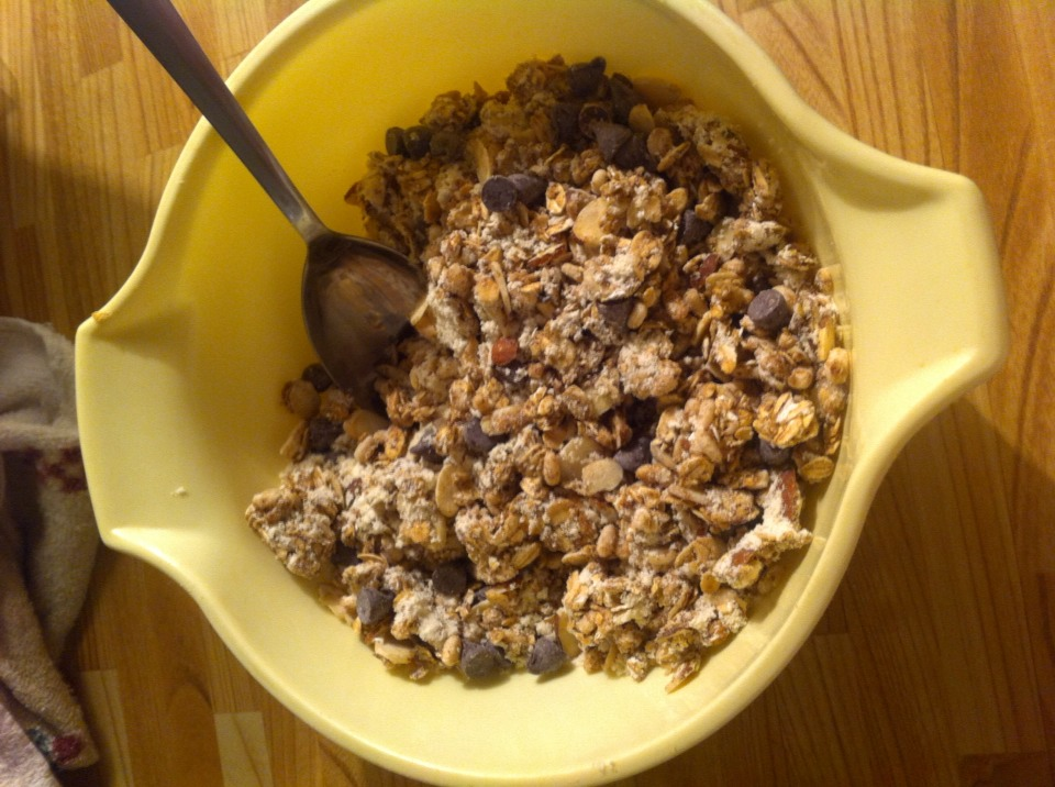 Mix your granola, protein, and chocolate chips in a bowl and put to side.