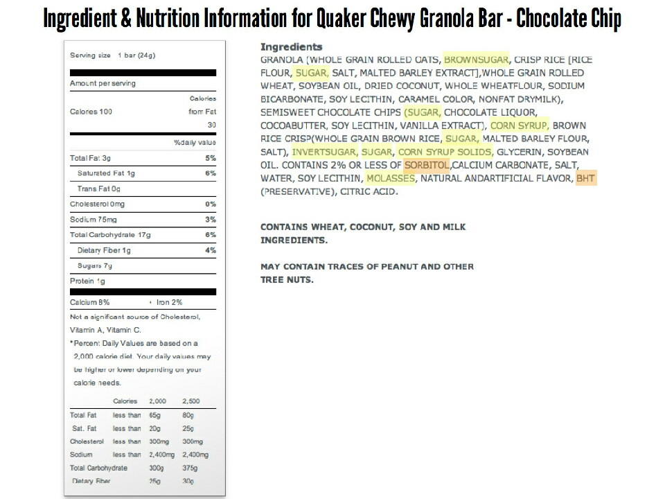 Here is the label for Quaker Oaks Chew Granola Bar. Look at how much JUNK there is in these bars!! Not to mention all the different names they have for sugar!! 😦