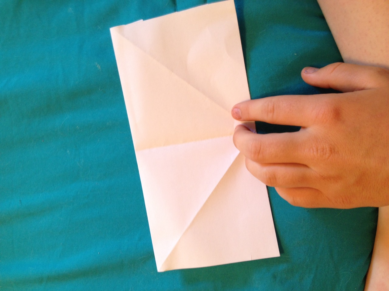 Then flip paper over and fold in half again