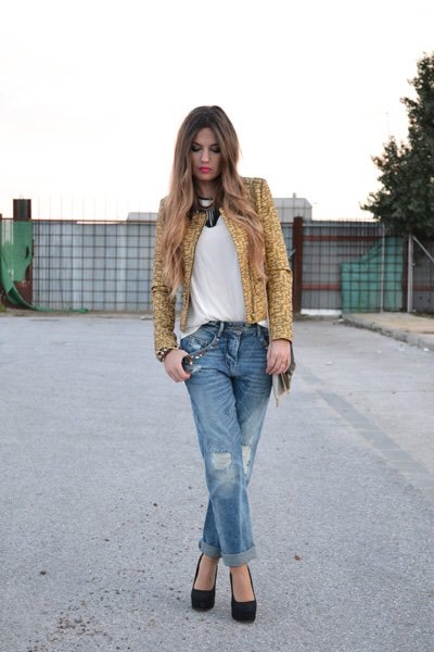 White Tee and Golden Jacket