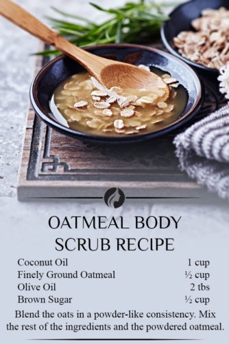 Oatmeal Body Scrub This DIY oatmeal body scrub can help exfoliate all those dead skin cells and leave your skin feeling young and healthy. Moreover, it will make you feel as though you have just stepped out of a spa. You need: •Coconut oil – 1 cup •Finely ground oatmeal – ½ cup •Olive oil – 2 tbs •Brown sugar – ½ cup *Note this recipe makes about 20 oz so you can make some for a friend, as well. It also lasts up to 6 months when stored in an airtight container.