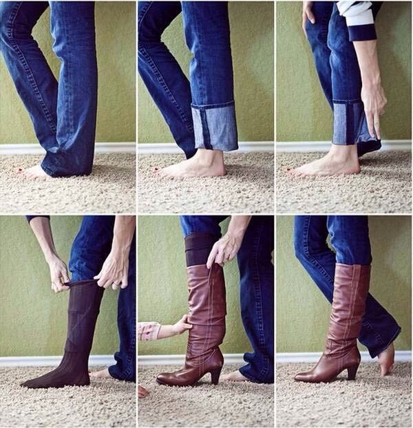 Well this picture sums it up pretty much.  Do this if your boot cut jeans are too long and you don't want them bunching up in your long boots.
