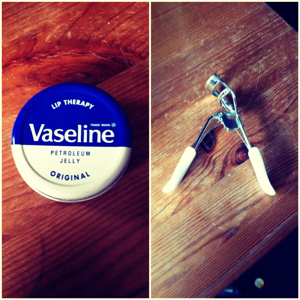 All you need is vaseline gel any will do, eyelash curlers and a clean mascara brush. dip the mascara brush in the vasaline and apply to the lashes as you would mascara.