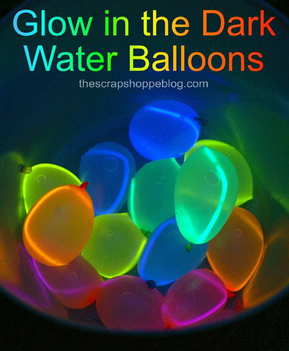 Glow in the dark water balloons: you would put the liquid from a glow stick into the balloon then you would fill it up with water. Just make sure you don't hit anyone's face because the liquid isn't supposed to make contact with anyone's eyes or mouth
