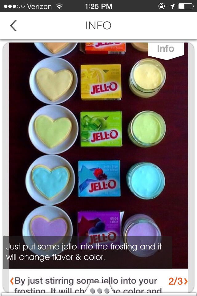 For each balloon put a small amount of flavored - colored jello into white frosting