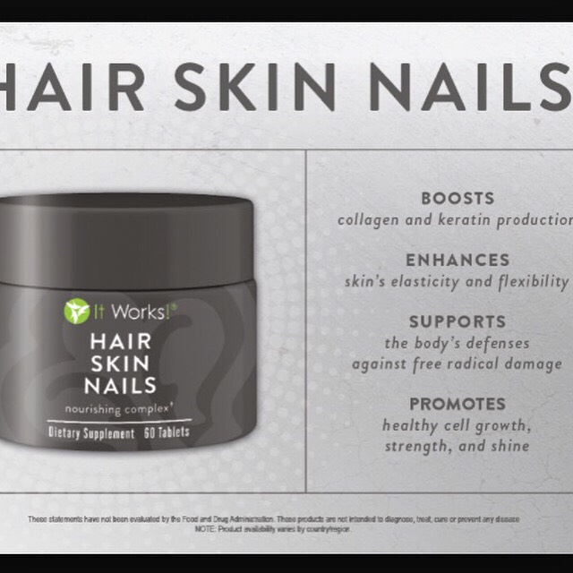 Hair Skin & Nails! The photo explains how it works! :) Grow your hair longer and stronger than ever, using all natural ingredients :)! Ask me for more information at brianna_itworks@yahoo.ca or text (705)-427-7329.