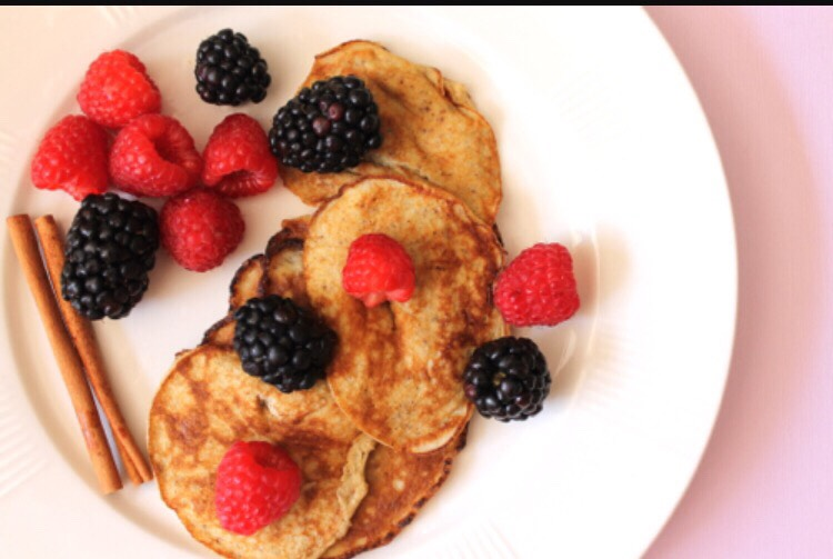 Banana pancakes!! Ingredients: 2 eggs 2 bananas Blend together in blender or stir precisely and add to pan as if it were your batterand boom there's you're pancakes. You can even add toppings like raspberries, blueberries and get creative :)