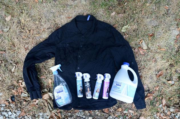 You need:       Bleach     A spray bottle     A black cotton shirt     Simply Spray Fabric Paint (Available at Walmart and Amazon)