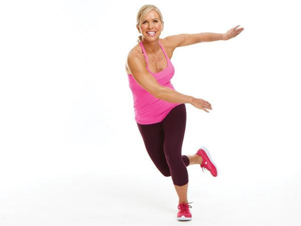 Week 3 Power Move: Speed Skater  Targets: Legs, butt, and heart rate  Stand with feet hip-width apart and arms by sides. Hop to left, landing on left foot while sweeping right foot diagonally behind left leg and swinging right arm across body and left arm behind back.