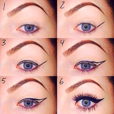 start off with an eye liner that is easy to use and a lil' pointy. yanno, so you can make those straight edges😉
