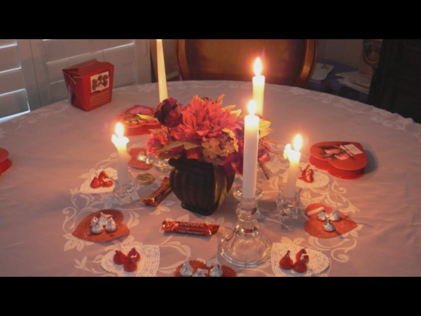 prepare a romantic dinner for two. avoid the wait at the restaurant by eating at home. relax and enjoy the day.