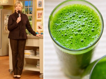 "Martha's Secret Green Juice  Start your day off like Martha Stewart with her ""secret"" green juice! Martha's morning juice is filled with all kinds of green things, including cucumbers, pears, spinach and parsley!"
