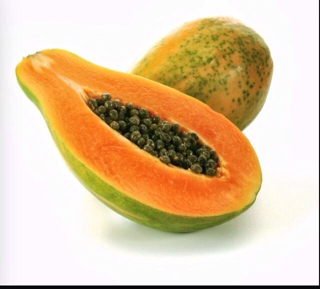Cut three pieces of papaya (take off the skin)