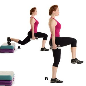 MOVE 6 Unilateral Lunge with Knee Balance  SETS: 3REPS: 12 to 15REST: 30 seconds Works core, hips, glutes, hamstrings, and quads
