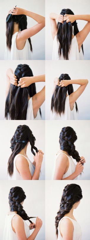 Section your hair into 3 sections (back, left and right), then French or Dutch braid all three sections until you run out of hair to braid and then clip them off, when you finish the last section braid the leftover hair and finish with a clear elastic.