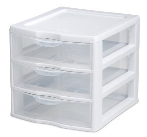 This second idea is for someone who has a small space to work with. Try getting some drawers like so in the picture to organize your products! They are stackable, so it's a very good idea for someone with a small space!