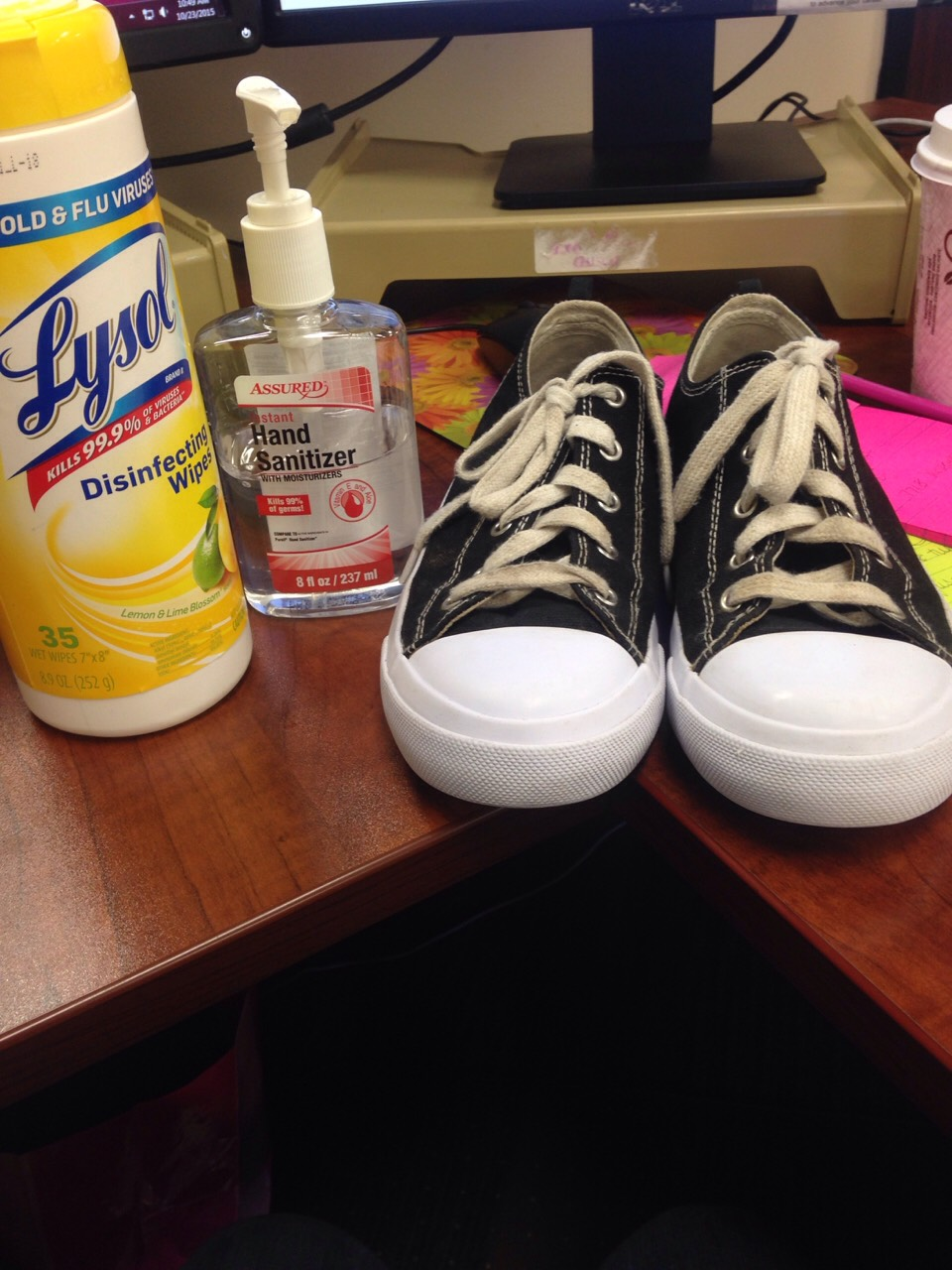 All you need is hand sanitizer and Lysol disinfectant wipes.
