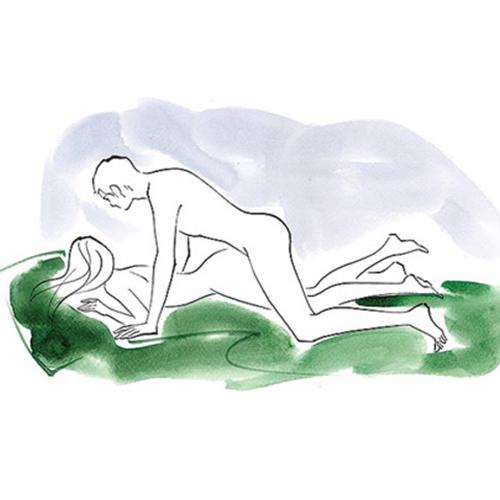 Flatiron How You lie facedown on the bed, legs straight, hips slightly raised.  Benefit This position creates a snug fit. Your guy's stuff will seem even larger.  Bonus Some shallow thrusts and deep breathing will help him last longer.