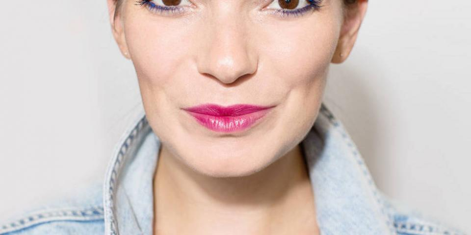 If you don't want a full-blown burgundy lip, use an eye shadow brush to buff the color into your pout, creating more of a diffused appearance.