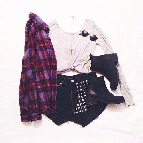 •Red plaid shirt •White cropped long sleeve shirt •Studded black shorts •Black booties  •Black sunglasses •Gem stone necklace