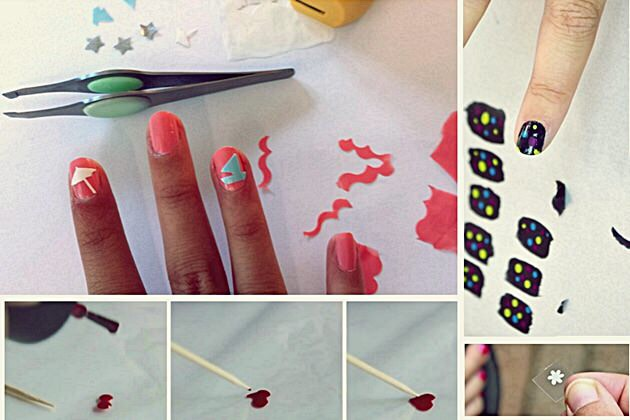 * Use the plastic baggy method to create your own nail decals.