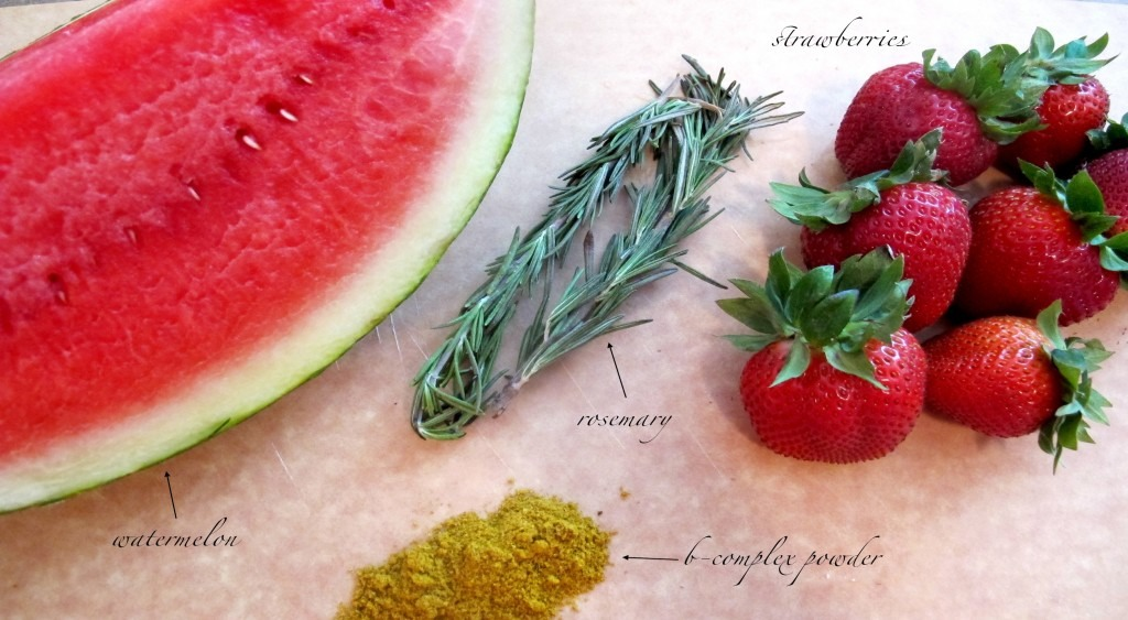 Ingredients: 2 Cups Watermelon (thinly sliced or cubed) 1 Cup Strawberries 2 Sprigs Rosemary 1g Vitamin B Complex Powder 5 drops Valarian Root Extract (optional) Pinch Himalayan Crystal Salt 750ml – 1 litre Filtered Alkaline Water (or Purified water + 1 Tsp Fresh Lemon