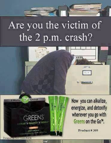 Get rid of that coffee and replace it with greens! No 2pm crash, and you're getting 8+ servings of fruits and veggies per serving!!