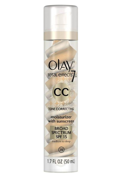 10. Olay Total Effects Tone Correcting Moisturizer with Sunscreen This light moisturizer evens skin tone and offers broad spectrum SPF 15 UV protection–you may not think you need it now, but trust us, your wrinkle-free and healthy skin will thank you later.