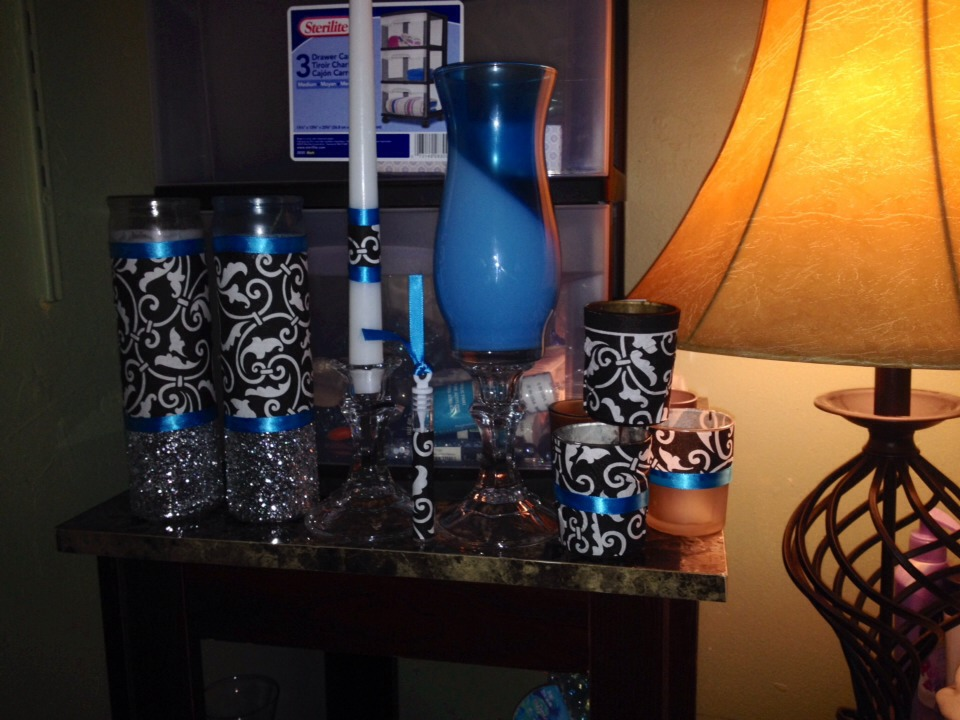 Things I made for my wedding deco. All idems were purchased at dollar tree, Walmart, and party city.