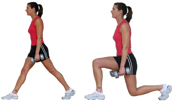 Do 10 lunges for each leg (Dumbbells are optional)