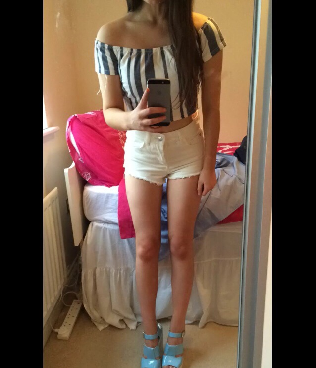 Blue shoes (by choice hehe)  White shorts  Crop top-blue and white stripes