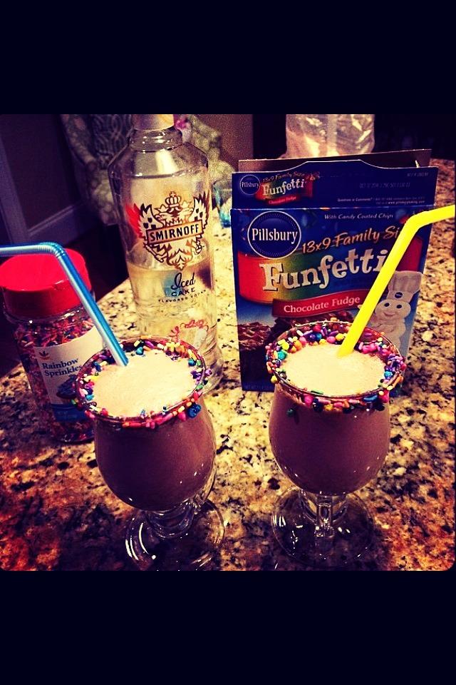 Funfetti Brownie Milkshake!: 1.5oz vodka// 1/2 pack of Funfetti mix// 1 pint of vanilla Bean ice cream// Blend// Lots of sprinkles :) ((ENJOY)) ..... Don't forget to like if you save plz!!!