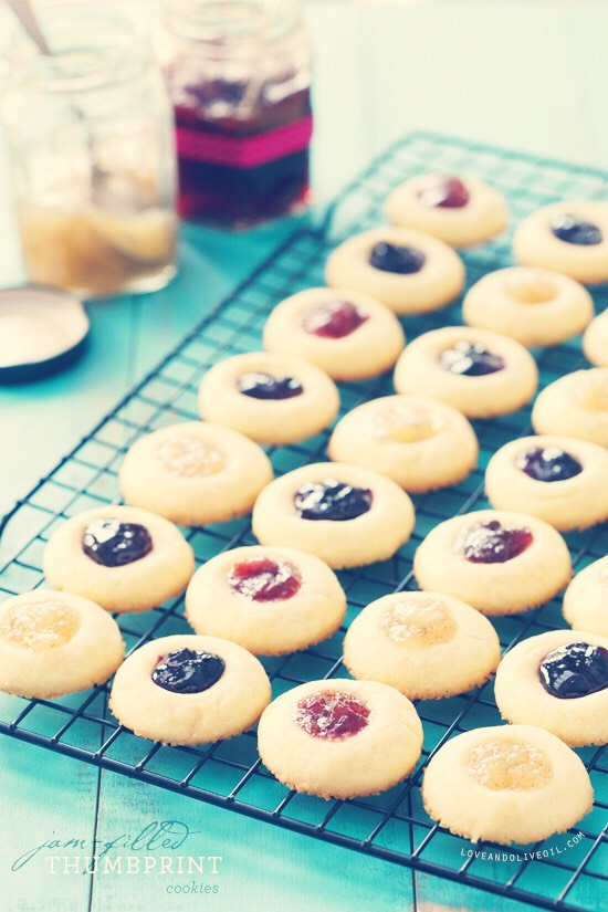 Jam Thumbprint Cookies Buttery with a hint of sweet fruit, these cookies are delightful!  http://www.marthastewart.com/342184/aunt-maggies-jam-thumbprint-cookies