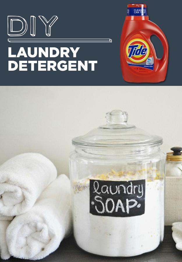 15. DIY Laundry Detergent  Lasts a year and for unscented leave out laundry softener crystals