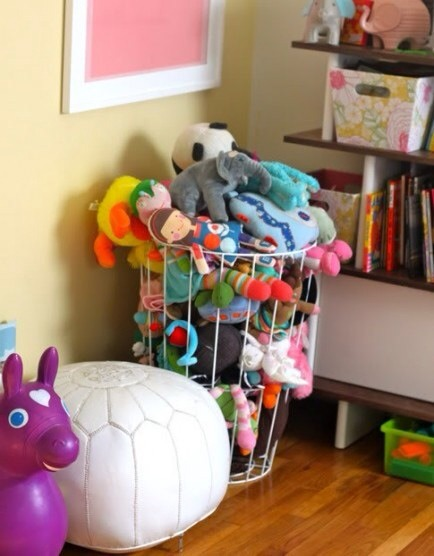 Hamper for Stuffed Animals  Use a wire laundry hamper to crate stuffed animals, then the kids can pick the one they want from the sides. This is my kid's room and we love this solution!