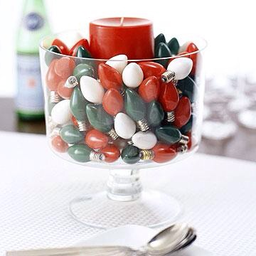 Bright idea  Recycle Christmas bulbs as a quick centerpiece. Place a single pillar candle in a glass dish and fill in with festive-color lights.
