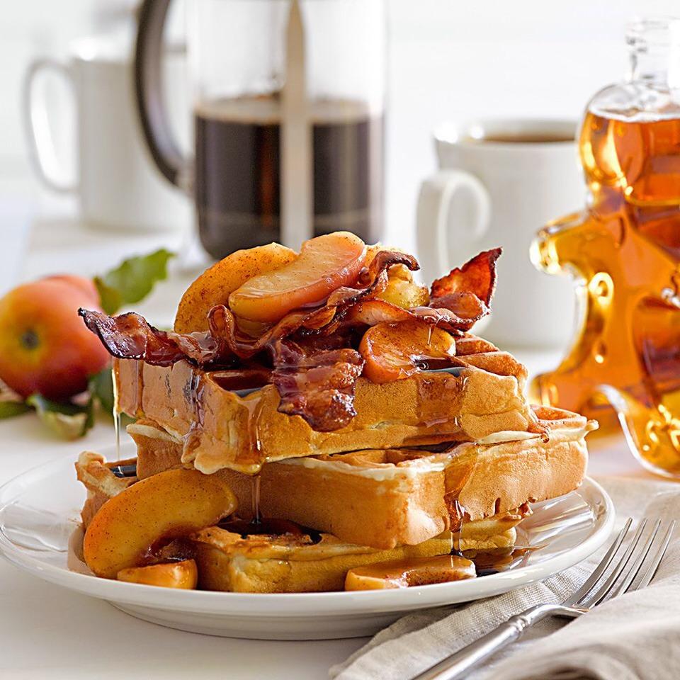 Bacon bits in waffles