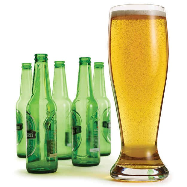 Giant beer glass that will fit 4 bottles! Great for outdoor parties . Available at hammacher.com for 19.95