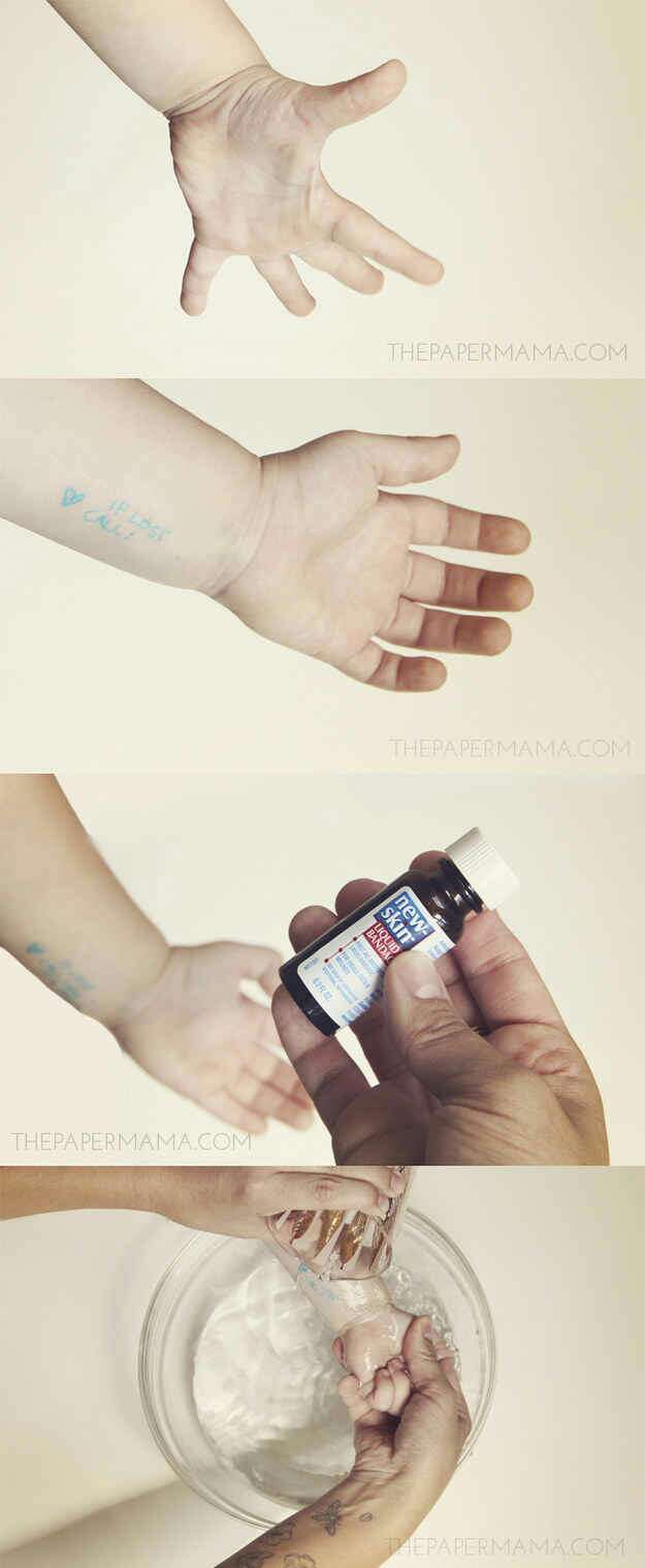 Liquid bandage will seal in a temporary safety tattoo with contact info