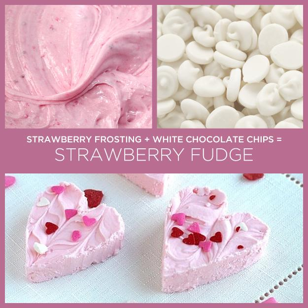 Can of Strawberry Frosting + White Chocolate Chips = Strawberry Fudge